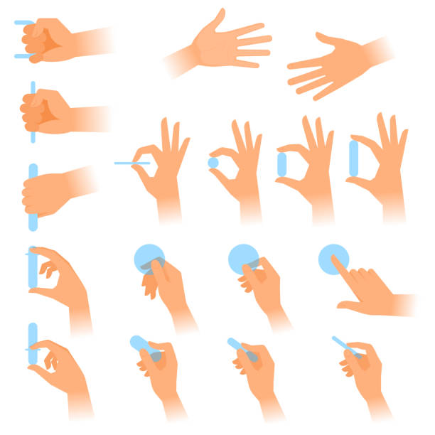 various gestures of human hands with objects. flat vector illustration. - squeezing stock illustrations