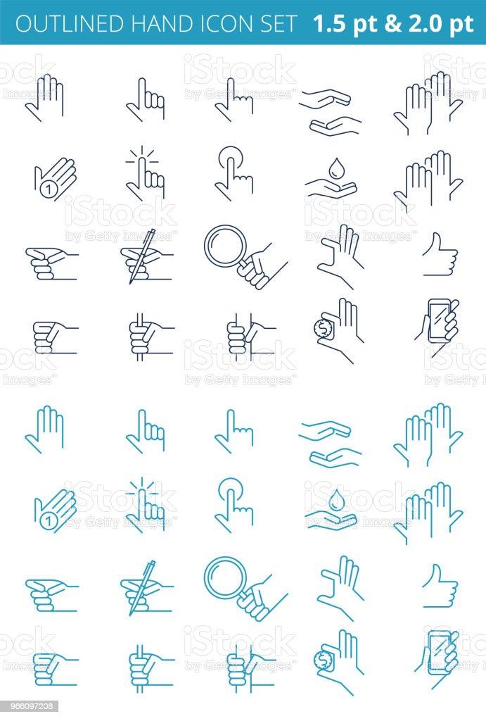 Olika gester av linje mänskliga händer. Beskrivs Ikonuppsättning. - Royaltyfri Använda telefon vektorgrafik