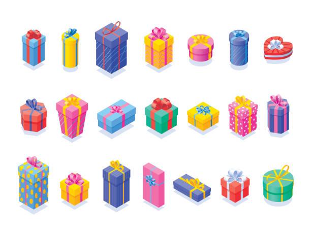 ilustrações de stock, clip art, desenhos animados e ícones de various gift boxes set - prenda