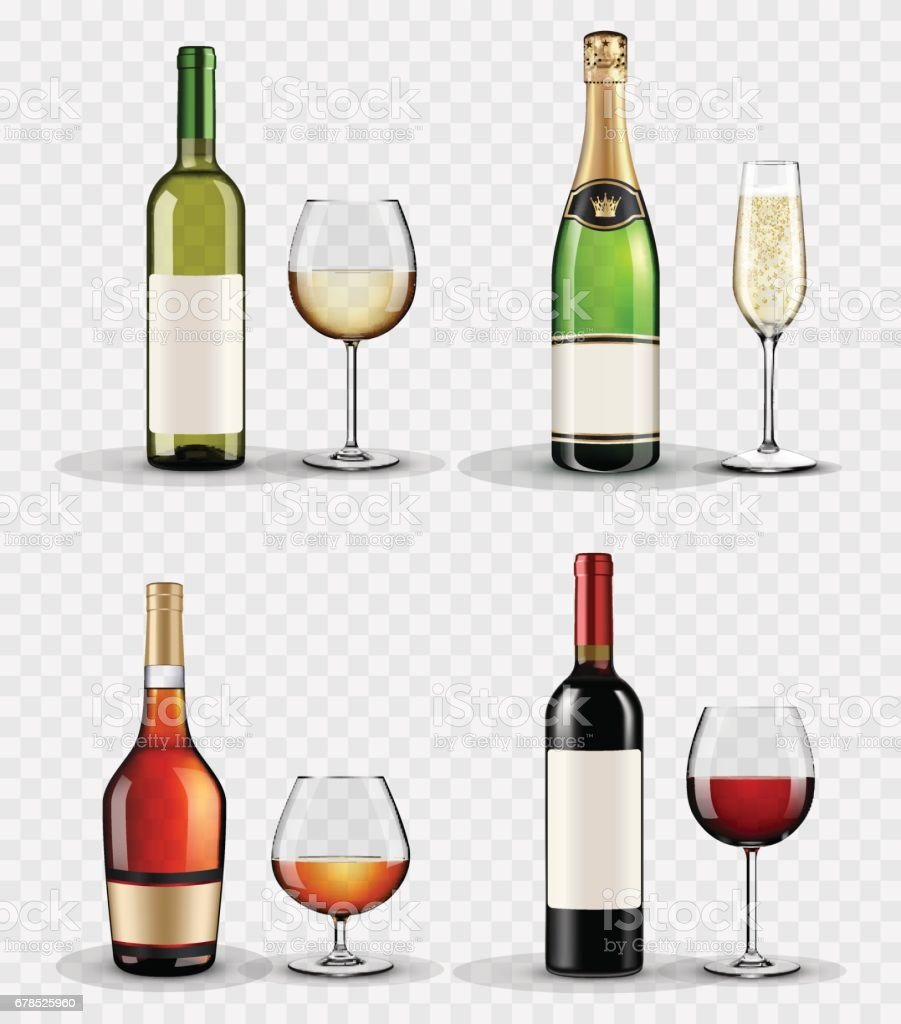 various glasses and bottles of alcohol vector art illustration