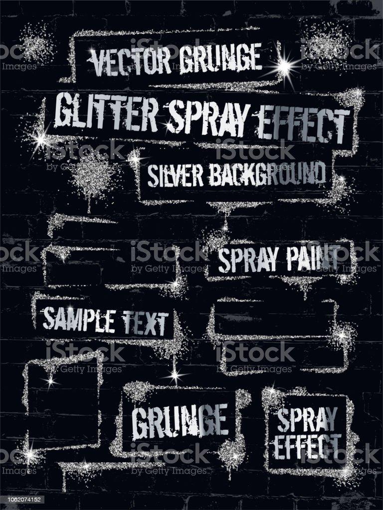 Various Glitter Spray Paint Graffiti On Brick Wall Frame