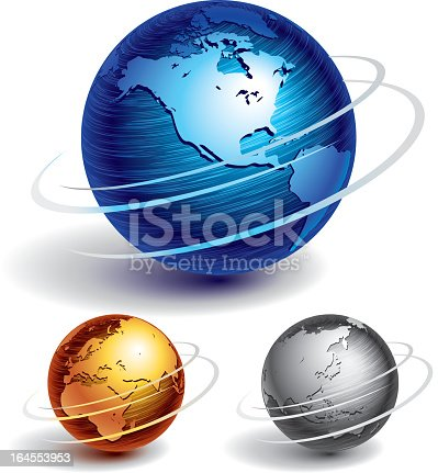 Various globes of different colors and sizes