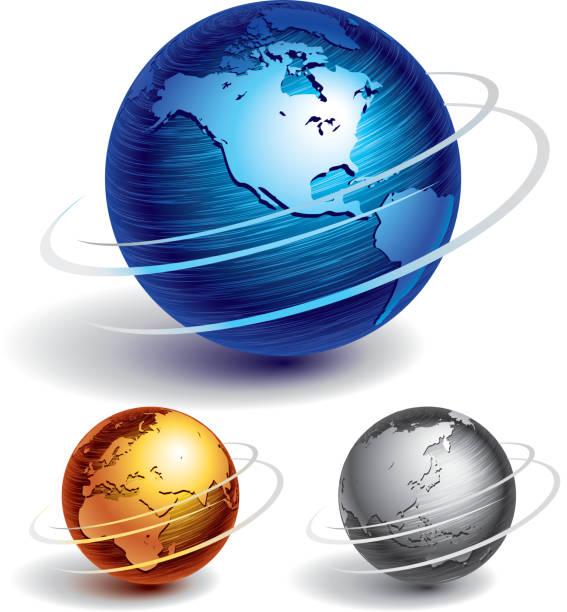 stockillustraties, clipart, cartoons en iconen met various globes of different colors and sizes - ronddraaien