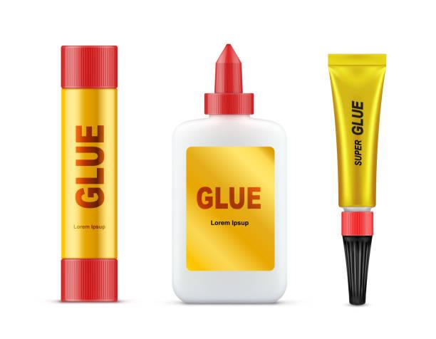 various glues tubes realistic vector template set - lepki stock illustrations