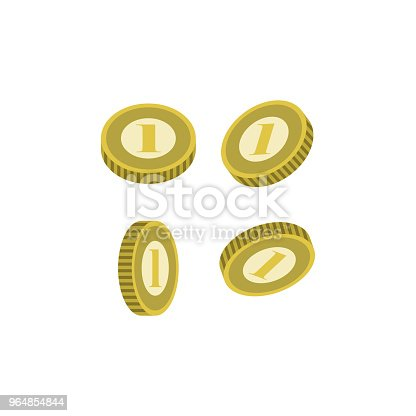 Various Golden Coins Isolated Icon Stock Vector Art & More Images of Abundance 964854844