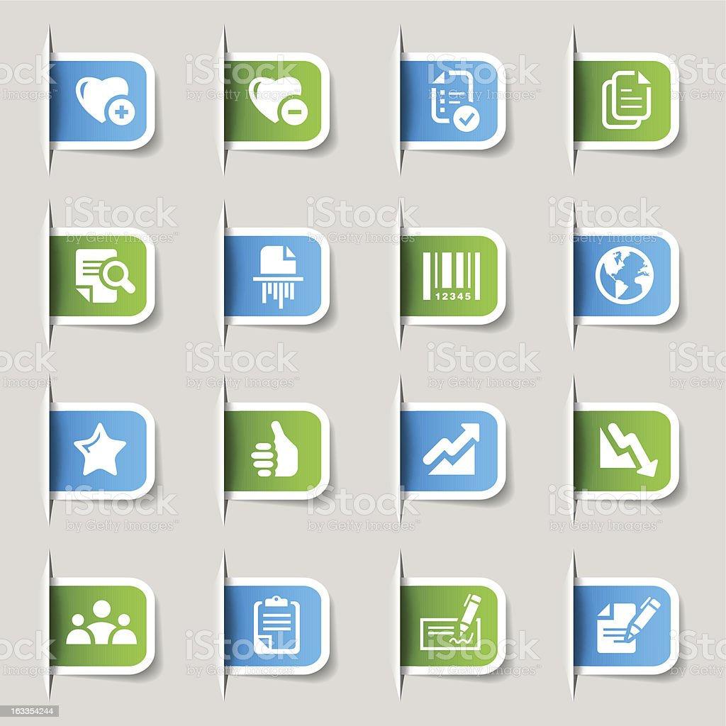 Various green and blue labels with business icons vector art illustration