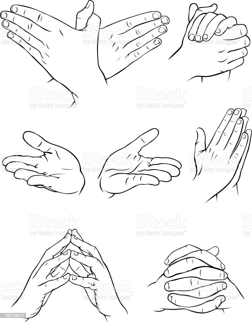 Various hand forms 2 vector art illustration