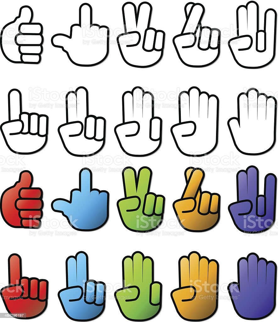 Various Hand SIgn Gesture Icons vector art illustration