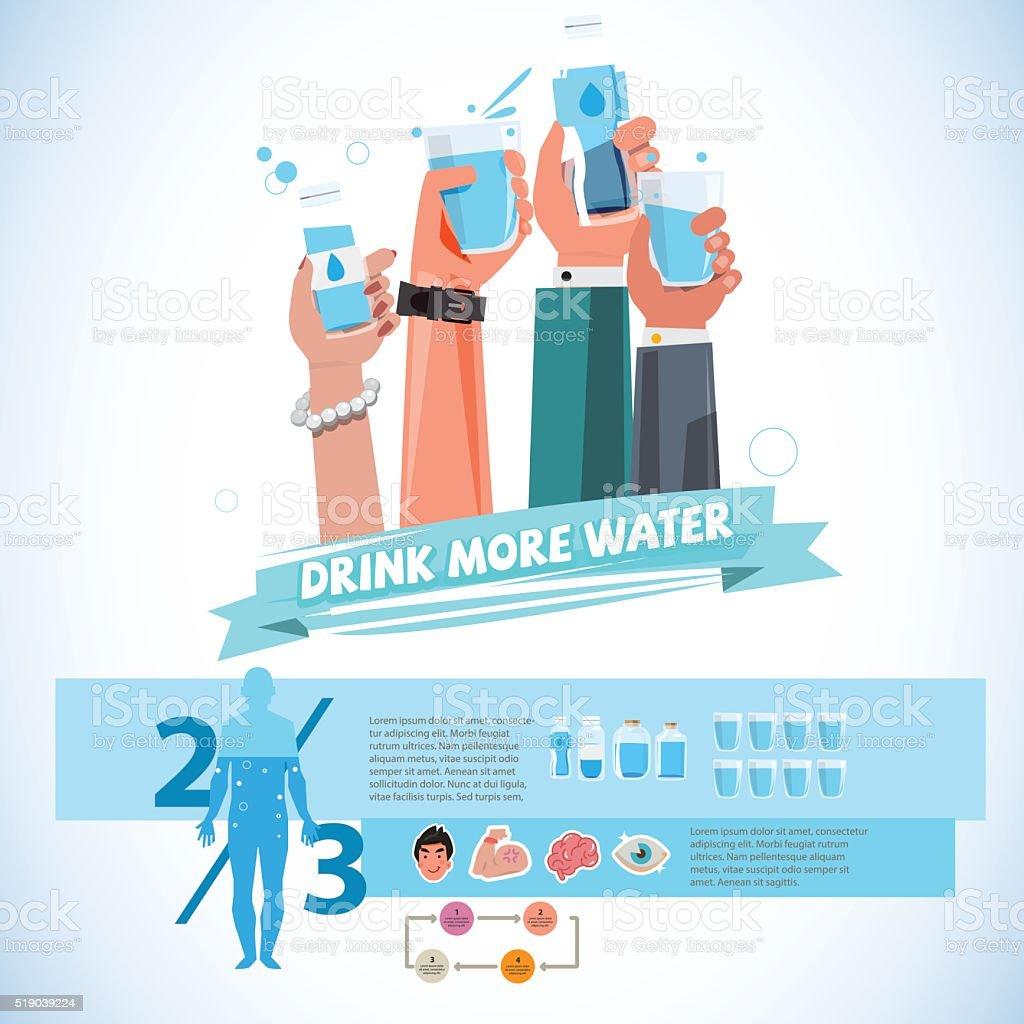Varios manos sosteniendo una taza de bebida y botella de agua. - ilustración de arte vectorial