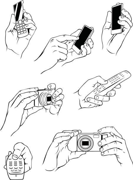 различные руки держит электронных объектов - hand holding phone stock illustrations