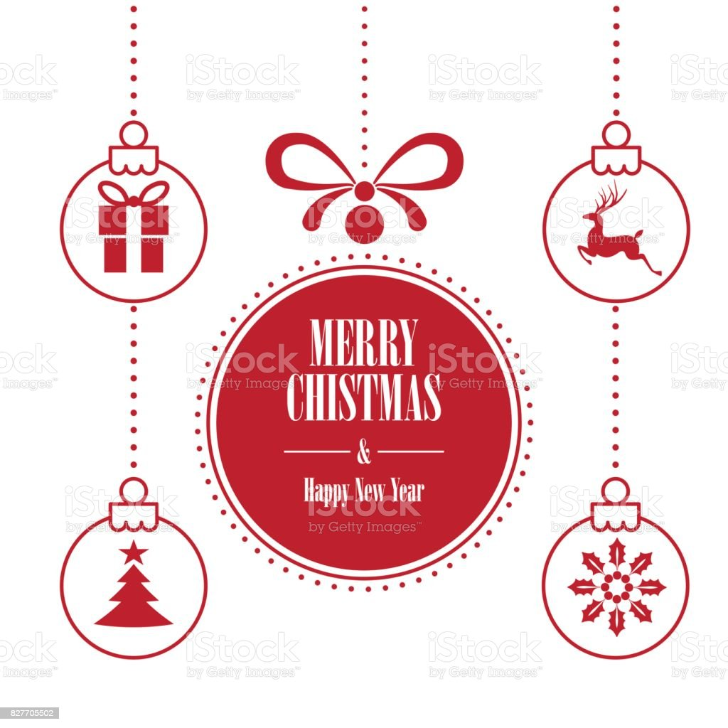 Various Hanging Christmas Ornaments With Text Merry Christmas And