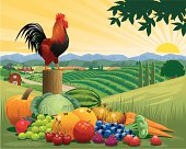 Crowing Rooster on a post with the sunrise, mountains and farmyard in the background. Fruit and vegetables are in the foreground. Art is on separate layers and easily edited. Download includes a large high res jpeg