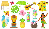 Various Hawaii symbols flat icon set. Hawaiian totem, tribal mask, guitar, girl and bungalow isolated vector illustration collection. Culture and travel concept