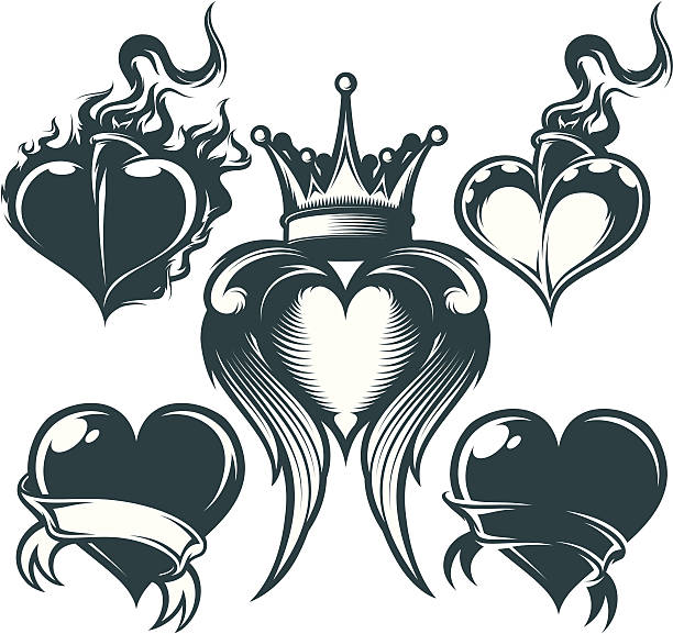 royalty free heart on fire tattoo cartoon clip art vector images