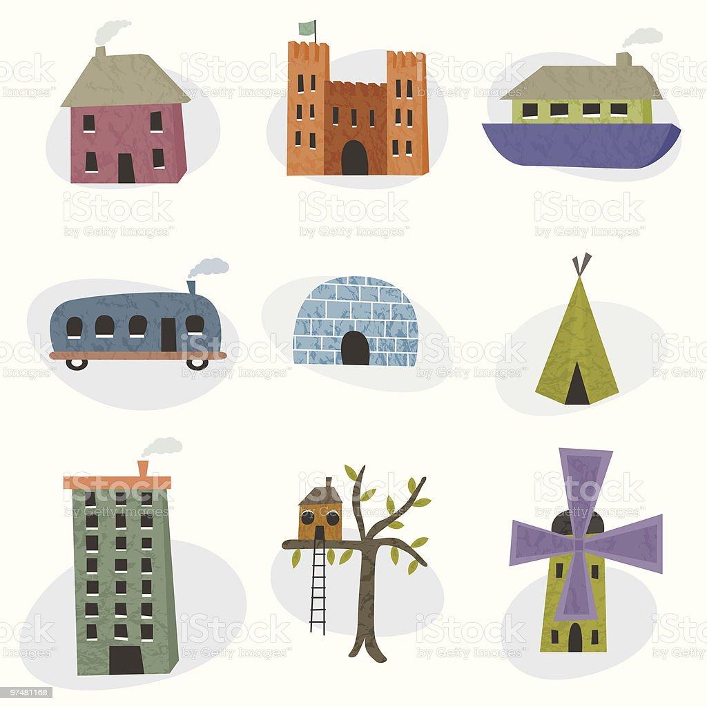 Various homes royalty-free stock vector art