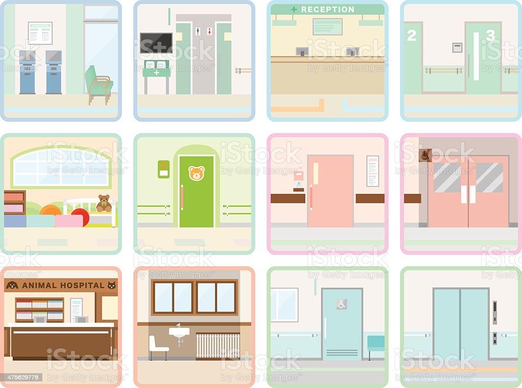 Various hospital vector art illustration