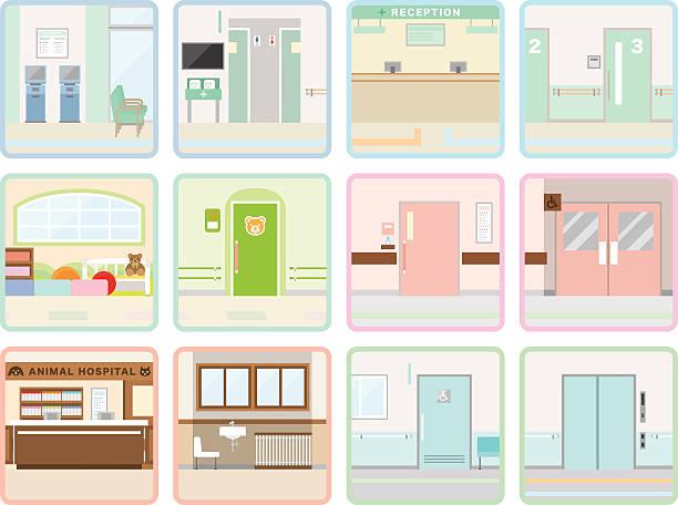 verschiedene hospital - rezeptionseingang stock-grafiken, -clipart, -cartoons und -symbole