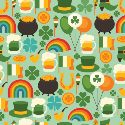 Various icons for Saint Patrick's Day on green background