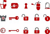 Various icons of security and safety