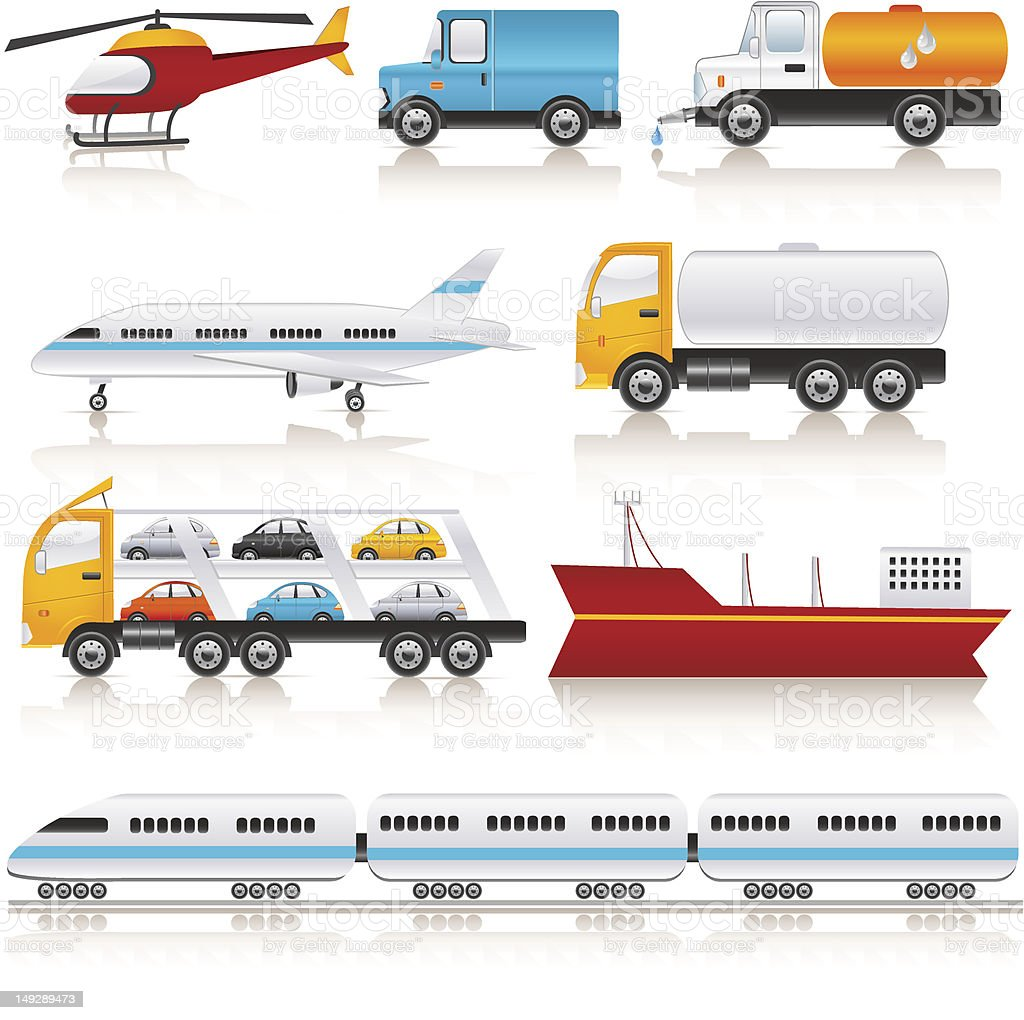 Various icons related to transportation royalty-free stock vector art