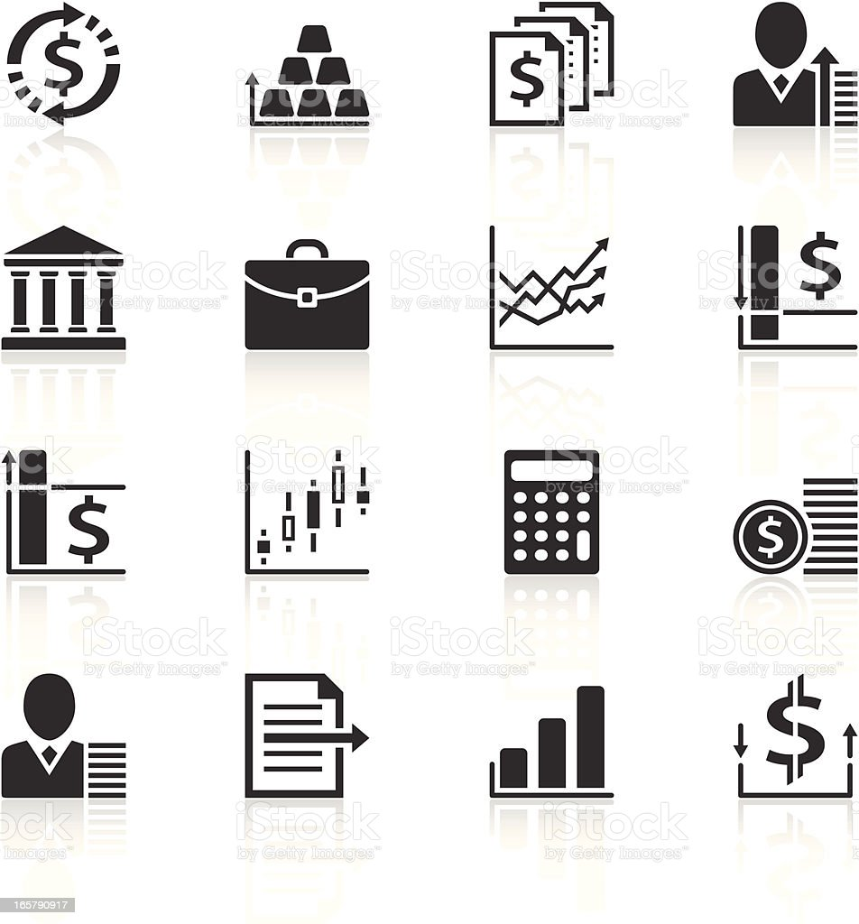Various icons relating to money vector art illustration