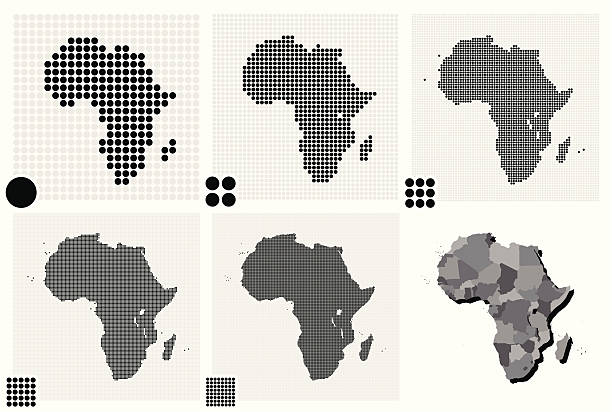 stockillustraties, clipart, cartoons en iconen met various illustrated maps of africa made out of dots - united stats halftone dots