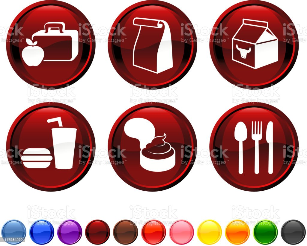 Various Illustrated White School Lunch Related Icons on Red royalty-free stock vector art