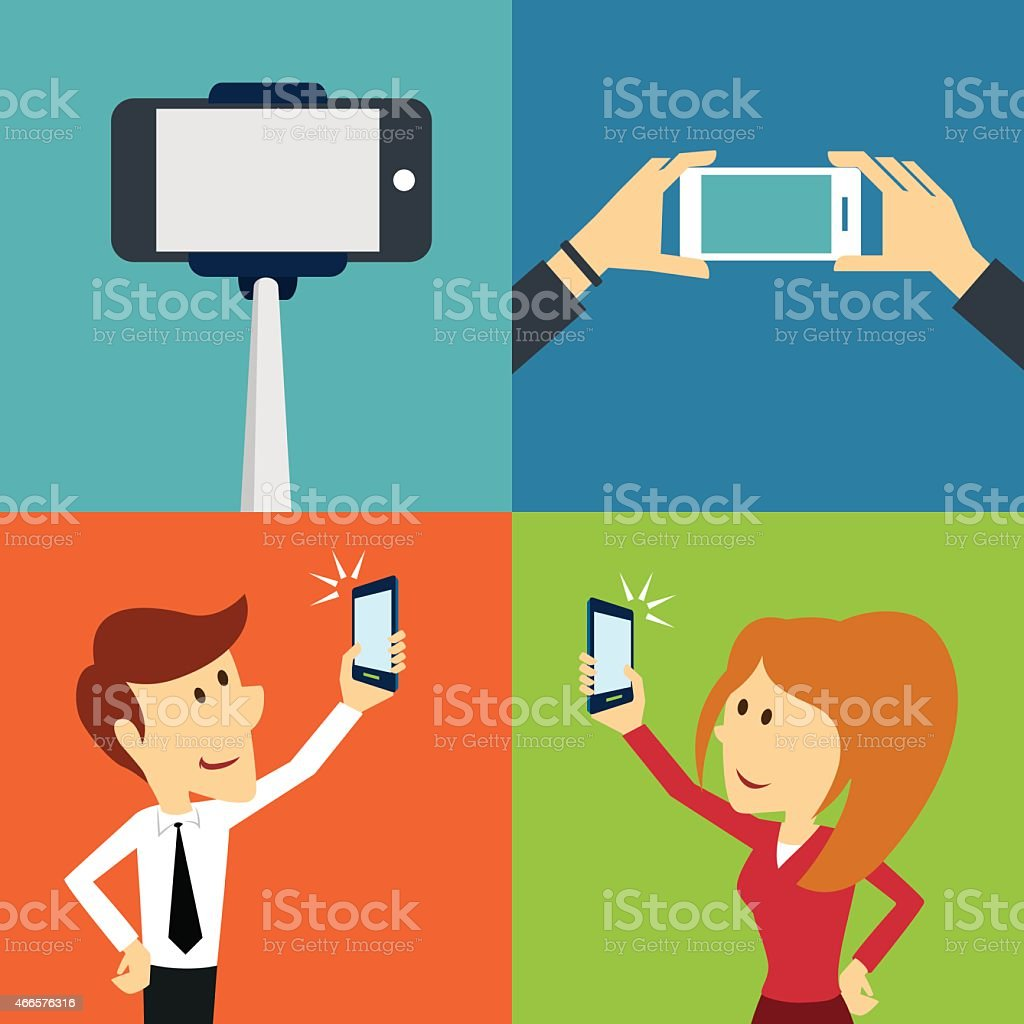 Various illustration on taking a selfie with a smart phone vector art illustration