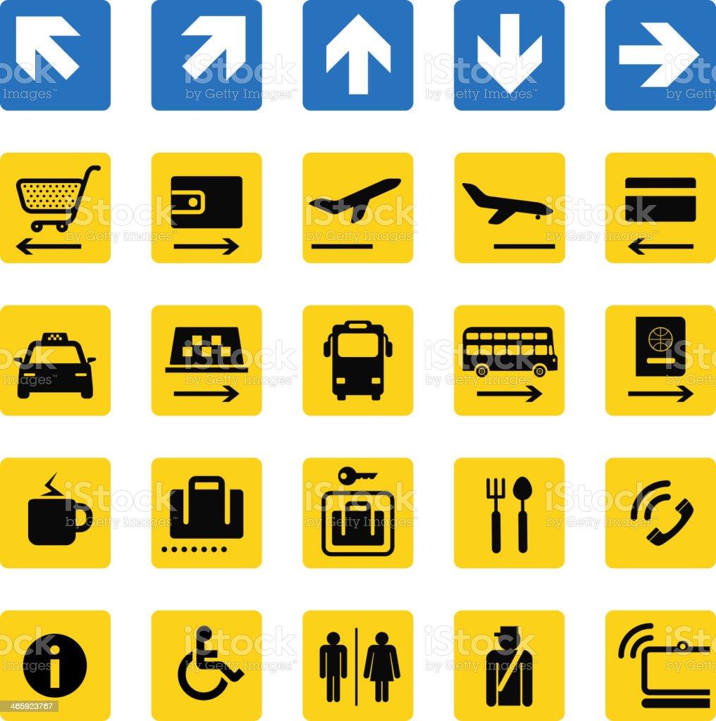 Various illustrations of airport information signs  vector art illustration