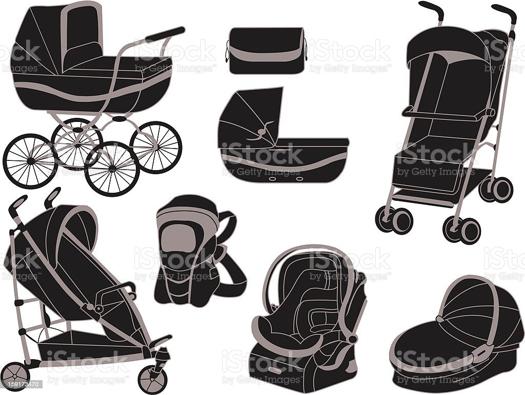 Various illustrations of strollers in black and white vector art illustration