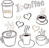 Collection of hand-drawn pictures of coffee cups.