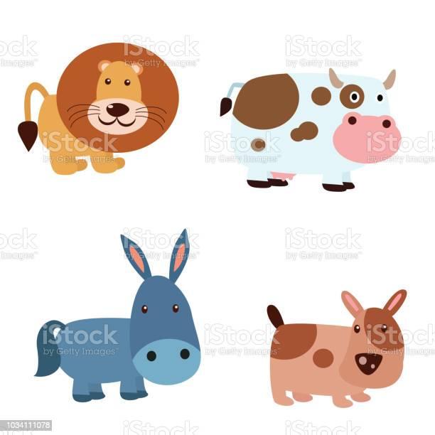 Various kinds of cute animals lion dairy cow donkey and dog cartoon vector id1034111078?b=1&k=6&m=1034111078&s=612x612&h=tkgfazyc dzkrgmmafhgpkpuls7kbqbfeaymi7a2xcy=