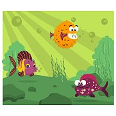 various kinds of fish puffer fish, snapper fish, and angelfish are gathering together in green sea, cartoon character