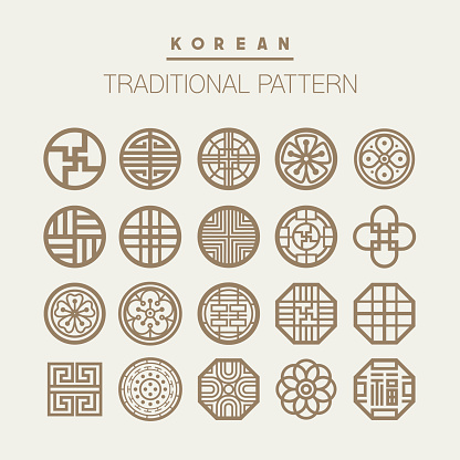 Traditional pattern icons used in Korea.