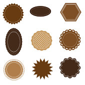 various labels in shades of brown in different shapes