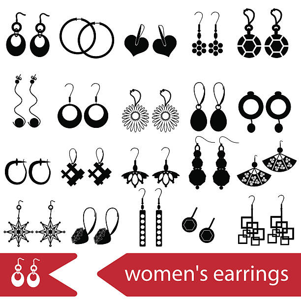 various ladies earrings types set of icons eps10 vector art illustration