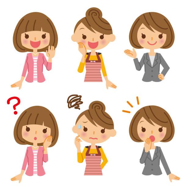 illustrazioni stock, clip art, cartoni animati e icone di tendenza di various ladies. - solo giapponesi