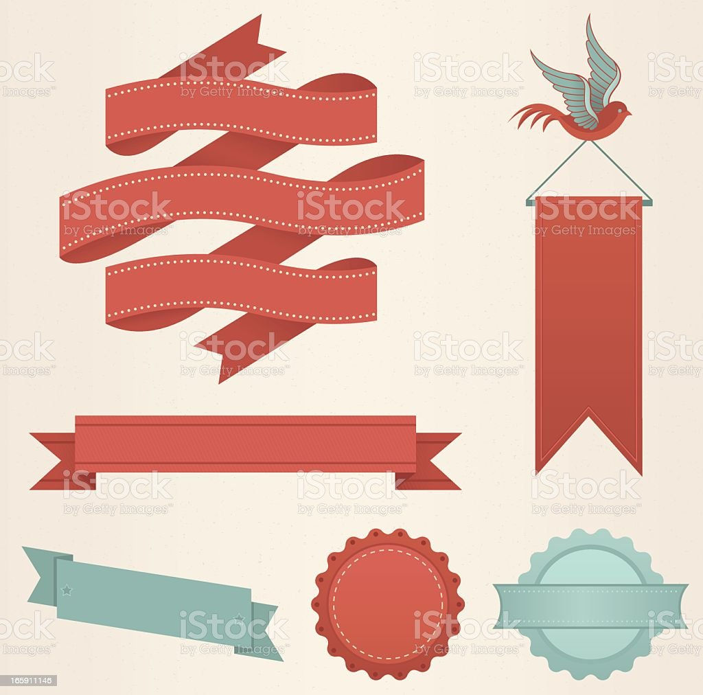 Various layout and style of a red banner and red ribbon royalty-free stock vector art