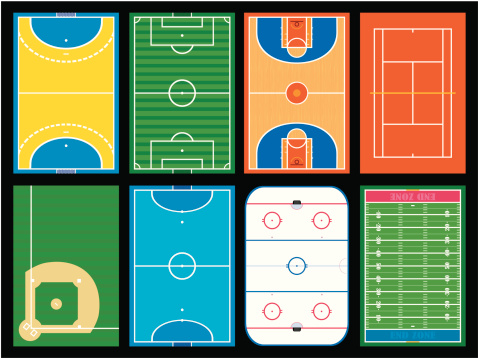 Various layouts of a sports field