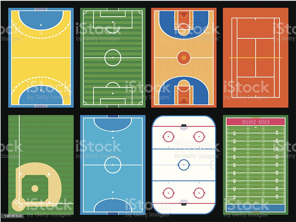 Various layouts of a sports field vector art illustration