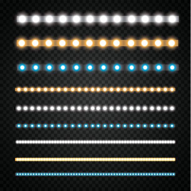 ilustrações, clipart, desenhos animados e ícones de várias listras led em um fundo preto e transparente, guirlandas led brilhantes - led