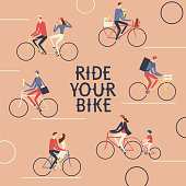 City cyclists poster. Including families with children, delivery, postman, pairs. Ride your bike title.