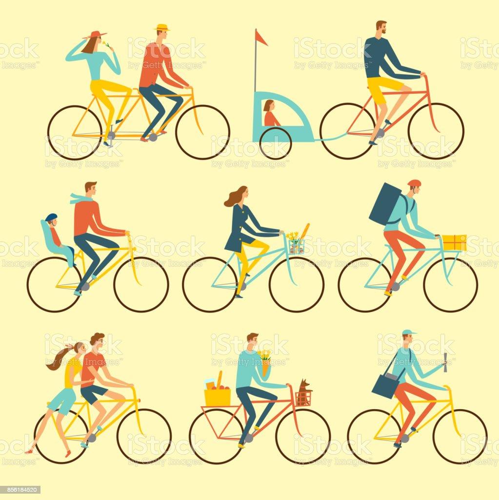 さまざまな自転車ライフ スタイル設定します。 ベクターアートイラスト