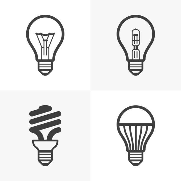Various Light Bulb Icons Vector Art Illustration