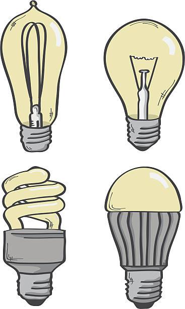 Various Light Bulbs Vector Art Illustration