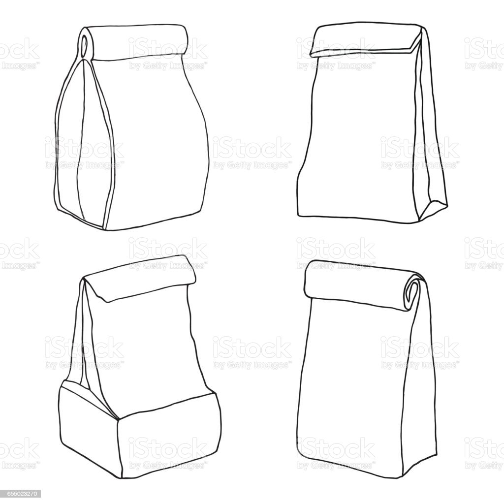 Various lunch bags and lunch boxes. Sketch, hand drawn, vector. vector art illustration