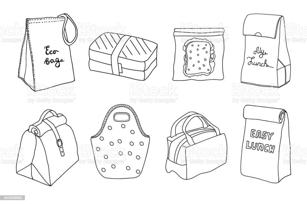 Various lunch boxes and lunch bags set. vector art illustration