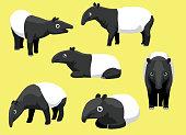 Various Malayan Tapir Poses Cartoon Cute Vector