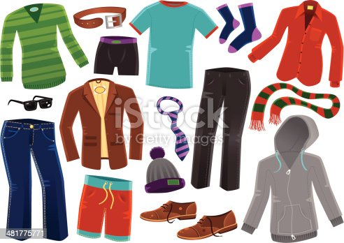 16 items of isolated male clothing. Included are; jumper, underpants, leather belt, t-shirt, socks, shirt, jeans, sunglasses, jacket, wool hat, neck tie, trousers, scarf, shoes and a hooded top.
