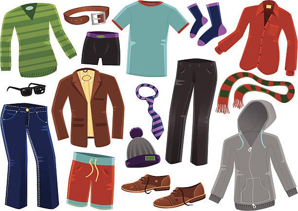 stockillustraties, clipart, cartoons en iconen met various male clothing items - men blazer